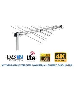 Antenna digitale terrestre logaritmica Banda III + UHF a 32 elementi CH 5-60