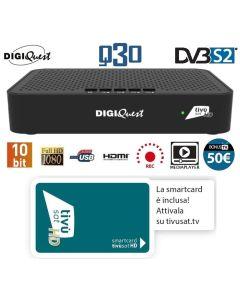 Decoder Satellitare DIGIQUEST Classic Q30 DVB-S2 + Tessera Tivusat HD