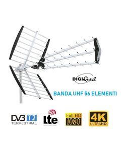 Antenna digitale terrestre Banda UHF a 56 elementi CH 21-60 FULL HD alto guadagno DIGIQUEST